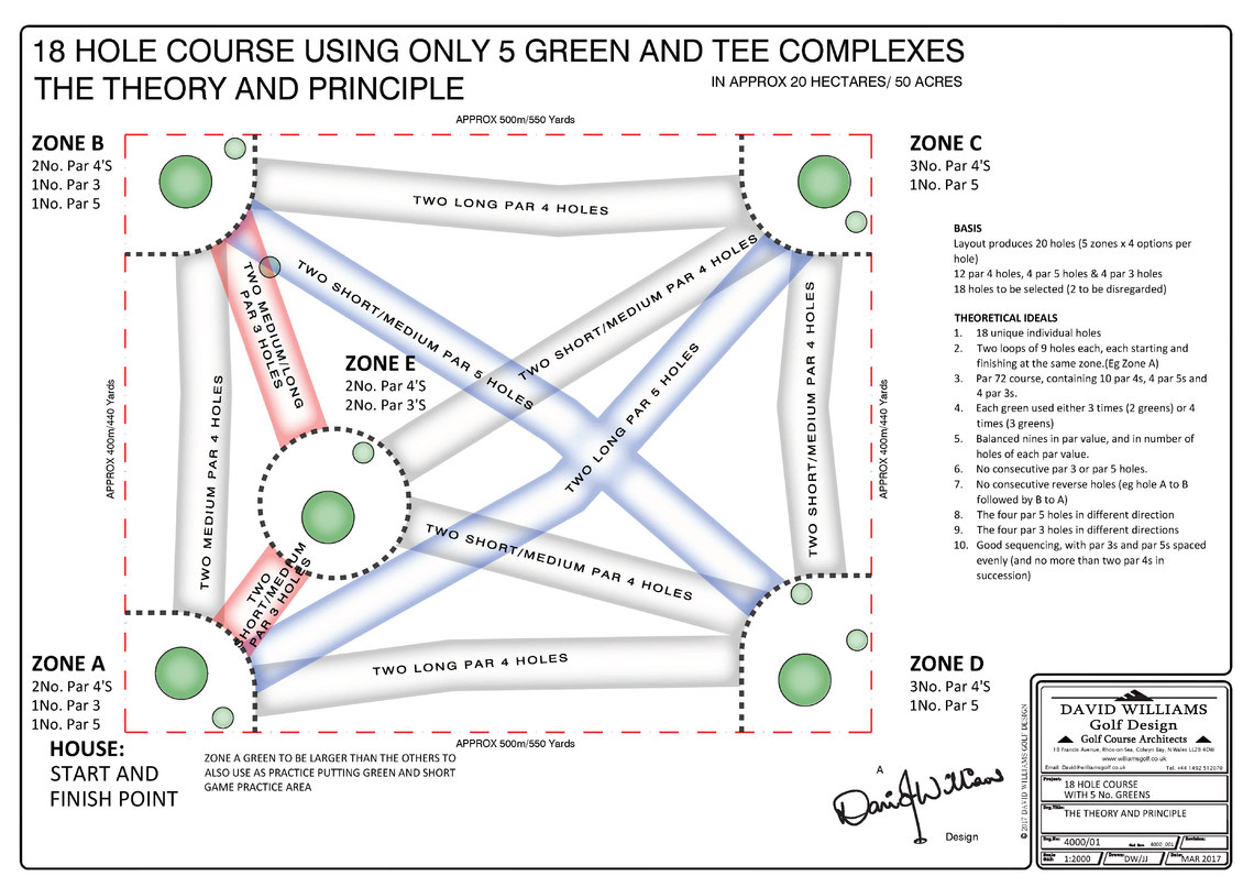 The initial concept utilised just five greens and tee complexes.