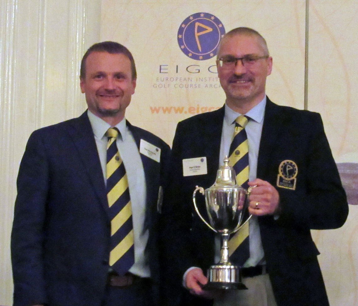 Tom Mackenzie presenting the President's Cup to Paul which he won in 2016 in Belfast