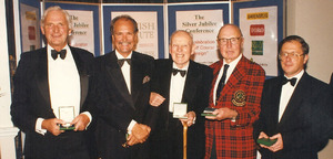 Hamilton Stutt, Eddie Hackett and Geoffrey Cornish receiving their medals in 1996 with Peter Harradine and Martin Hawtree accepting them on behalf of their fathers, Donald and Fred
