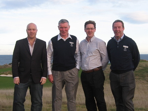 Key figures from the St Andrews management team meet representatives from the Golf Environment Organisation. Left to right: Benjamin Warren  Communications Director, GEO; Alan McGregor  Chief Executive, St Andrews Links Trust; Jonathan Smith  Chief Executive, GEO; Gordon Moir  Director of Greenkeeping, St Andrews Links Trust