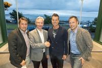 (l-r) Christian Lundin, Mats Lundin (Chairman of Österåker GC), Henrik Stenson and Andreas Ljunggren (CEO Österåker GC)