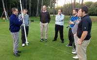 Tim Lobb and EIGCA Students discuss the new 16th green at Woking GC